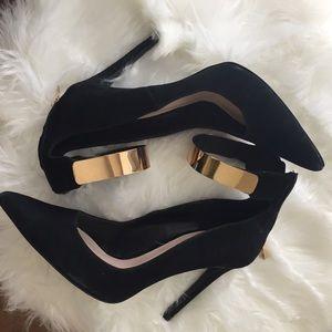 Zara Black Suede Gold Metal Cuff Heels size 9 UK40